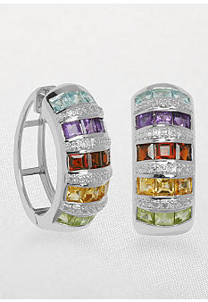 Belk & Co. Sterling Silver Earrings with Multicolored Stones and Diamonds