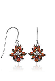 Belk & Co. Sterling Silver Garnet and Diamond Earrings