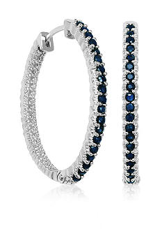 Belk & Co. Sterling Silver Sapphires and Diamond Hoop Earrings