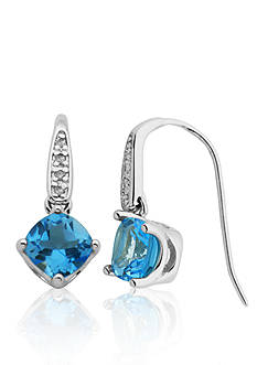 Belk & Co. Sterling Silver Blue Topaz and Diamond Earrings