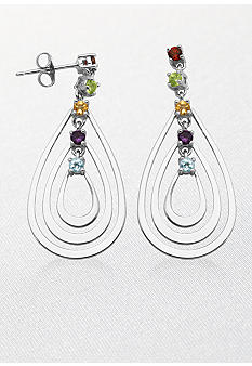 Belk & Co. Sterling Silver Multi Gemstone Teardrop Post Earrings