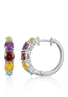 Belk & Co. Sterling Silver Multi Gemstone Hoop Earrings