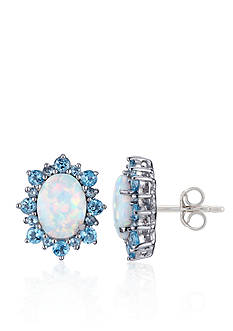Belk & Co. Rhodium Plated Created Opal & Blue Topaz Earrings