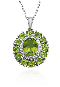 Belk & Co. Sterling Silver Peridot and Diamond Cluster Pendant