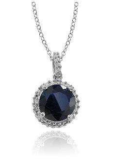 Belk & Co. Sterling Silver Sapphire And Diamond Pendant