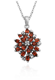 Belk & Co. Sterling Silver Garnet and Diamond Accent Cluster Pendant