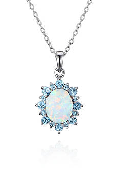 Belk & Co. Rhodium Plated Created Opal & Sky Blue Topaz Oval Halo Burst Pendant