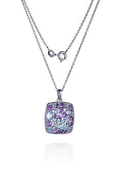 Belk & Co. Sterling Silver Rhodium Plated Genuine Brazil Amethyst & Sky Blue Topaz Square Cluster Pendant