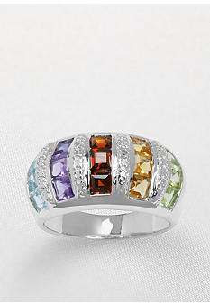 Belk & Co. `Sterling Silver Multi-Color and Diamond Accent Ring