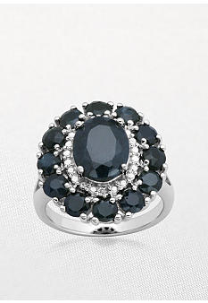 Belk & Co. Sterling Silver Black Sapphire and Diamond Cluster Ring