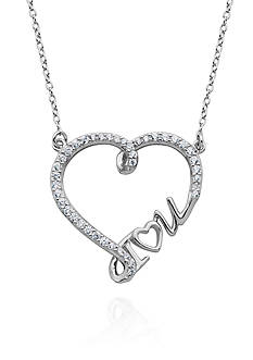 Belk & Co. Platinum Plated Sterling Silver Cubic Zirconia I Love You Necklace