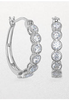 Belk & Co. Platinum Plated Sterling Silver Cubic Zirconia Bezel Loop Earring