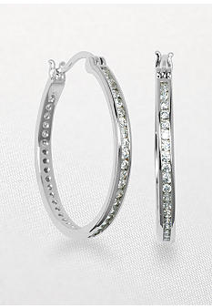 Belk & Co. Platinum Plated Sterling Silver Cubic Zirconia Hoop Earring