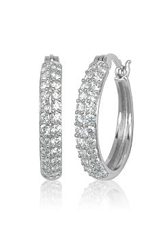 Belk & Co. Platinum Plated Sterling Silver Small Cubic Zirconia Hoop Earrings