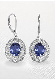 Belk & Co. Platinum Plated Sterling Silver Simulated Tanzanite and Cubic Zirconia Earrings