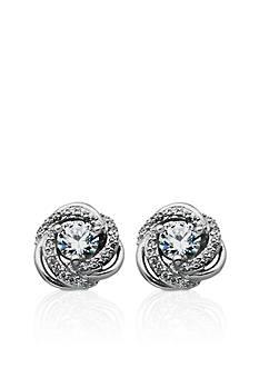 Belk & Co. Platinum Plated Sterling Silver Cubic Zirconia Swirl Earrings