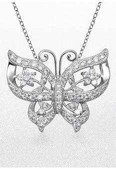 Belk & Co. Platinum Plated Sterling Silver Cubic Zirconia Butterfly Pendant