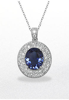 Belk & Co. Platinum Platecd Sterling Silver Simulated Tanzanite and Cubic Zirconia Pendant