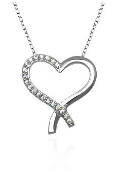 Belk & Co. Platinum Plated Sterling Silver Heart Pendant with Cubic Zirconia Stones