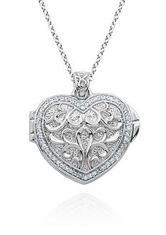 Belk & Co. Platinum-Plated Sterling Silver Cubic Zirconia Heart Locket Pendant