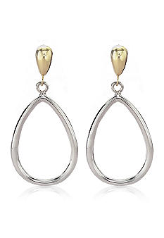 Belk & Co. Sterling Silver And 14K Open Teardrop Earring On Post