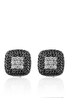Effy Black and White Diamond Earrings in 14k White Gold