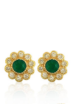 Effy 14k Yellow Gold Emerald and Diamond Flower Earrings