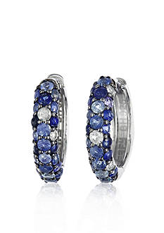 Effy Sterling Silver Blue Sapphire Hoop Earrings