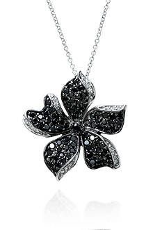 Effy Black and White Diamond Flower Pendant in 14k White Gold