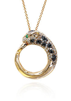 Effy White and Black Diamond Panther Pendant in 14k Rose Gold
