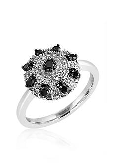 Effy Black and White Diamond Ring in 14k White Gold