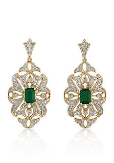 Effy 14k Yellow Gold Emerald and Diamonds Earrings