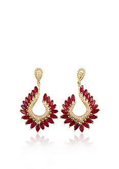 Effy 14k Yellow Gold Ruby and Diamond Marquise Earrings