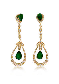 Effy 14k Yellow Gold Emerald and Diamond Earrings