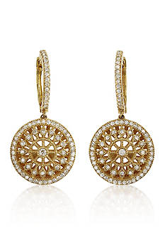 Effy Diamond Filigree Earrings in 14k Yellow Gold
