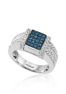 Effy Black Diamond, Blue Diamond, and White Diamond Flip Top Ring in 14k White Gold