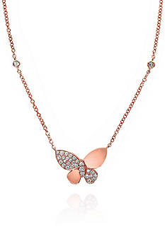 Effy Diamond Butterfly Necklace in 14k Rose Gold