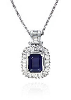 Effy 14k White Gold Sapphire and Diamond Pendant