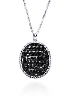 Effy Black and White Diamond Oval Pendant Necklace in 14k White Gold