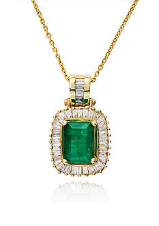 Effy 14k Yellow Gold Emerald and Diamond Pendant