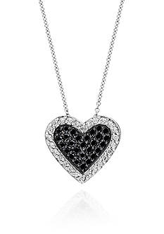 Effy Black and White Diamond Heart Pendant in 14k White Gold