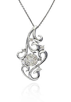 Effy Diamond Cluster Swirl Pendant in 14k White Gold