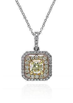 Effy White and Yellow Diamond Pendant in 14k Two Tone Gold
