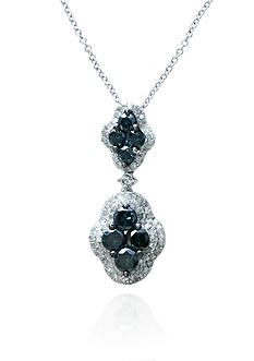 Effy Blue and White Diamond Pendant in 14k White Gold