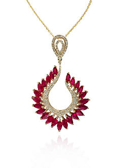 Effy 14k Yellow Gold Ruby and Diamond Marquise Pendant
