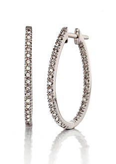 Belk & Co. Diamond Hoop Earrings in 10k White Gold
