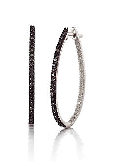Belk & Co. Black and White Diamond Hoop Earrings in 14k White Gold