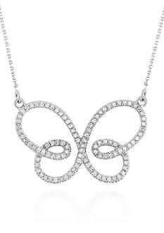 Belk & Co. Diamond Butterfly Necklace in 14k White Gold