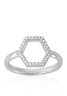 Belk & Co. Diamond Open Hexagon Midi Ring in 14k White Gold