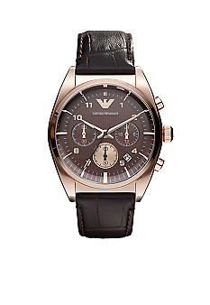Emporio Armani® Classic Men's Watch With Chronograph Round Rose Gold-Tone Case with Brown Dial and Leather Strap